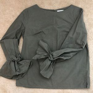 Olive Green Shirt with tie bell sleeves